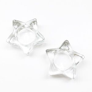 Glass star shaped candle holders